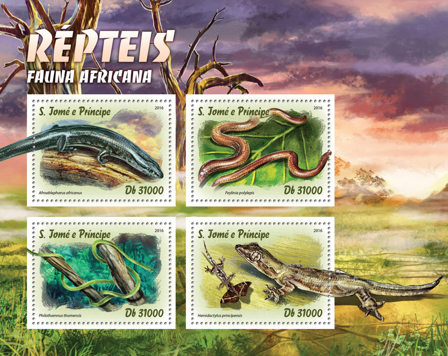 Reptiles - Issue of Sao Tome and Principe postage stamps