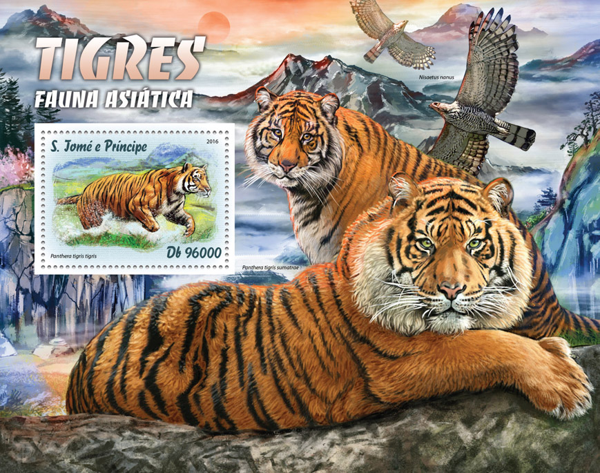 Tigers - Issue of Sao Tome and Principe postage stamps