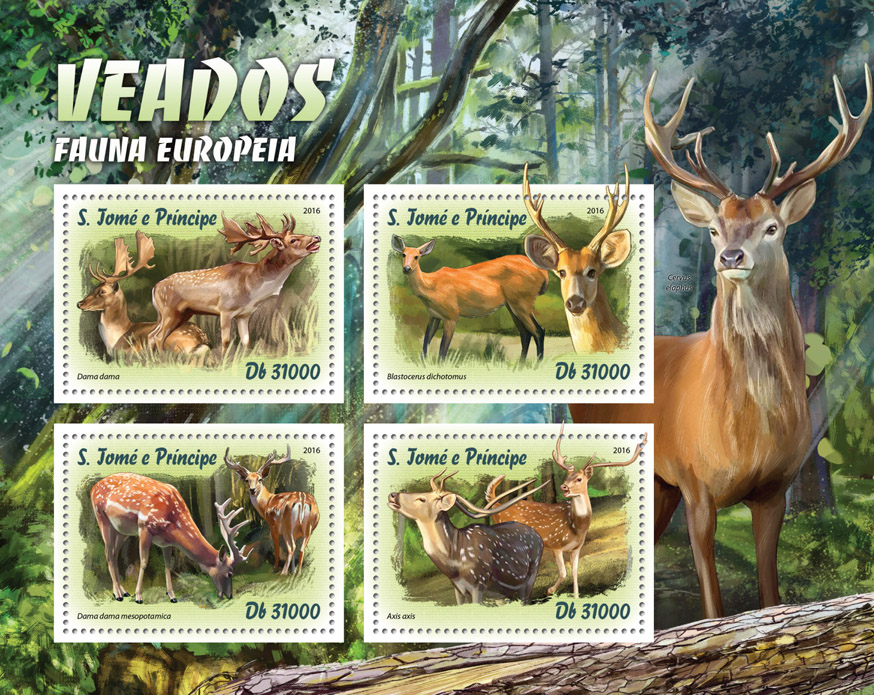 Deer - Issue of Sao Tome and Principe postage stamps