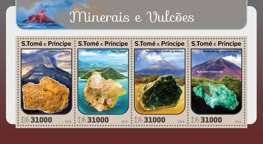 Minerals and volcanoes - Issue of Sao Tome and Principe postage stamps