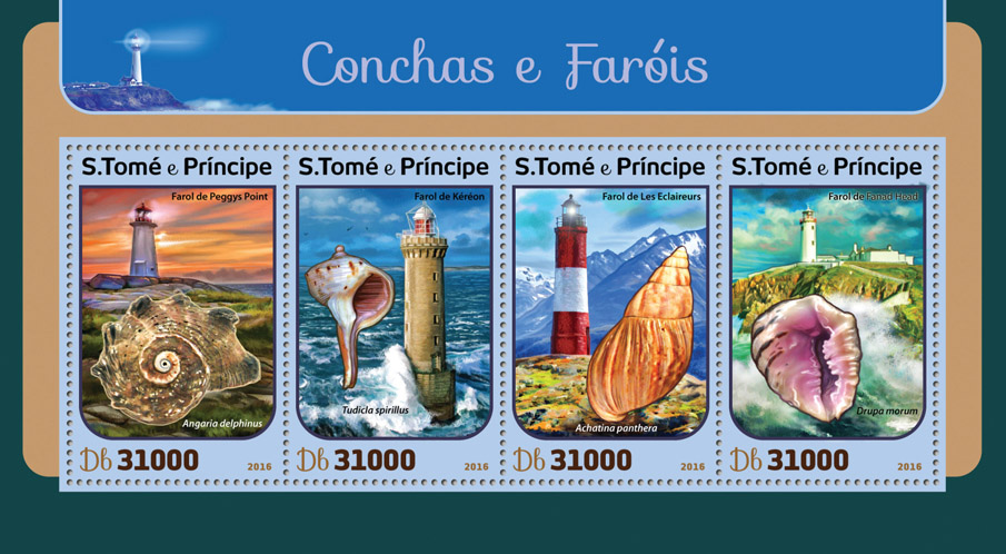 Shells and lighthouses - Issue of Sao Tome and Principe postage stamps