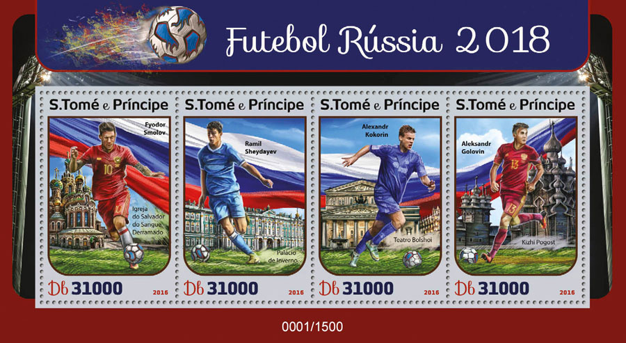 Football Russia 2018 - Issue of Sao Tome and Principe postage stamps