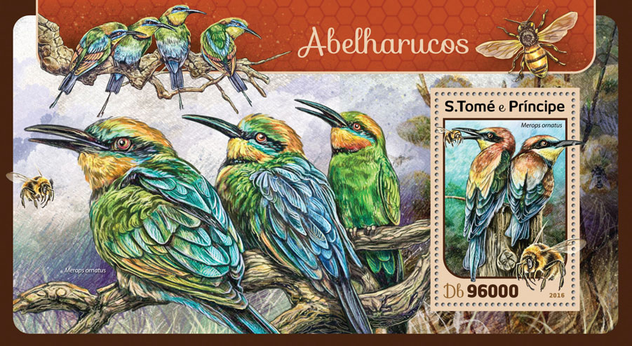 Bee eaters - Issue of Sao Tome and Principe postage stamps
