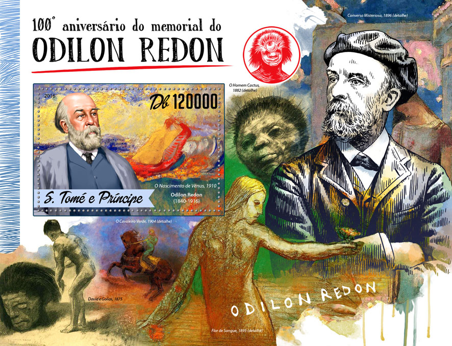 Odilon Redon - Issue of Sao Tome and Principe postage stamps