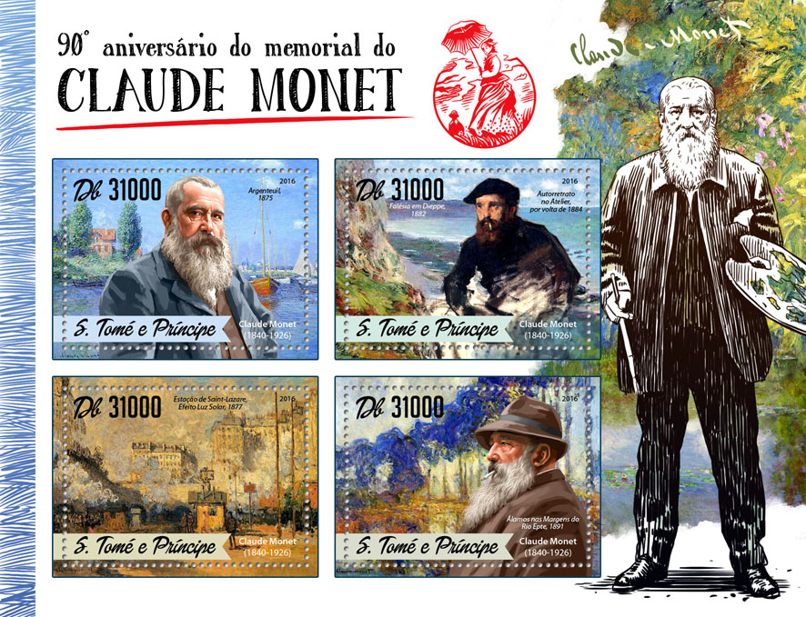 Claude Monet - Issue of Sao Tome and Principe postage stamps
