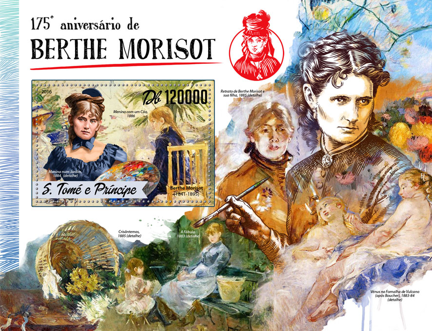 Berthe Morisot - Issue of Sao Tome and Principe postage stamps