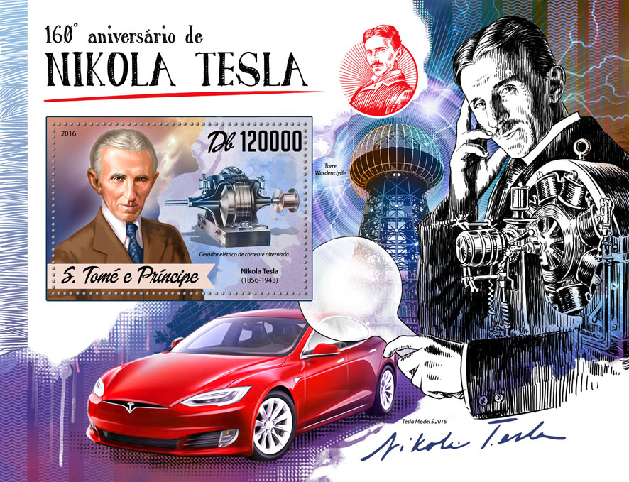 Nikola Tesla - Issue of Sao Tome and Principe postage stamps