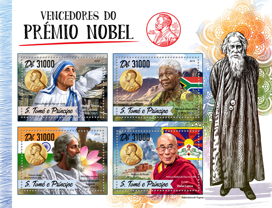 Nobel Prize - Issue of Sao Tome and Principe postage stamps