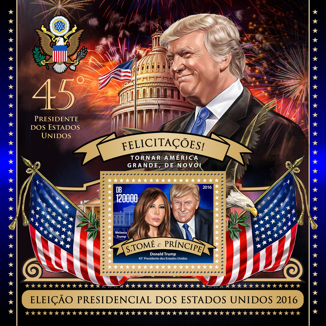 Donald Trump - Issue of Sao Tome and Principe postage stamps
