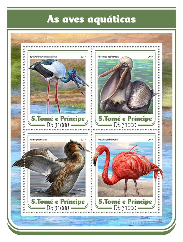 Water birds - Issue of Sao Tome and Principe postage stamps