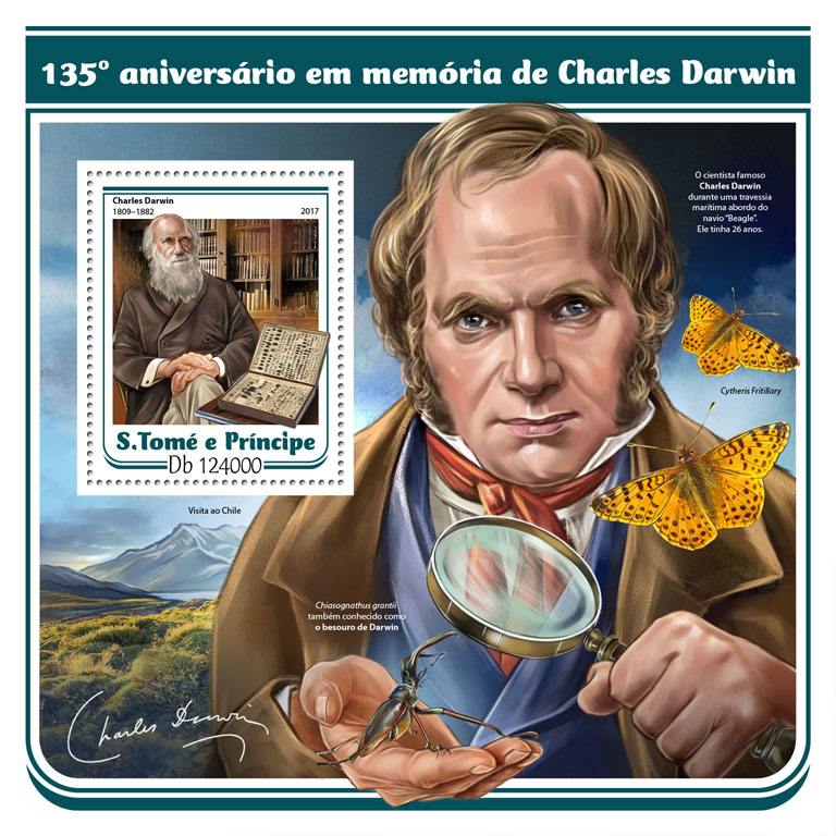 Charles Darwin - Issue of Sao Tome and Principe postage stamps