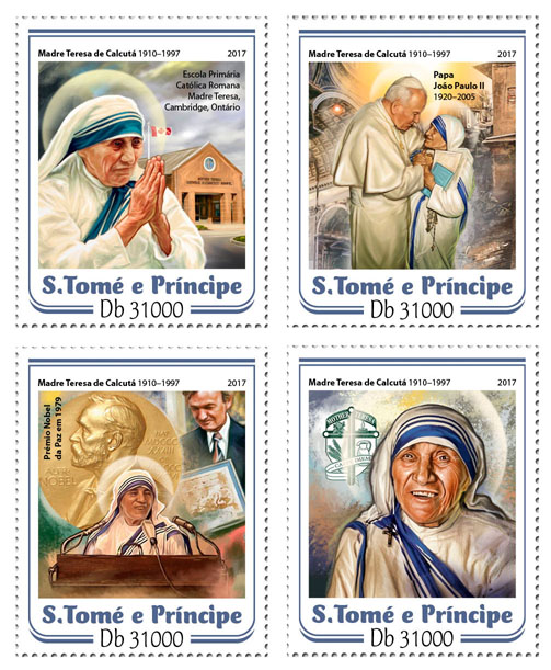 Mother Teresa - Issue of Sao Tome and Principe postage stamps