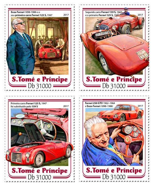 Ferrari - Issue of Sao Tome and Principe postage stamps