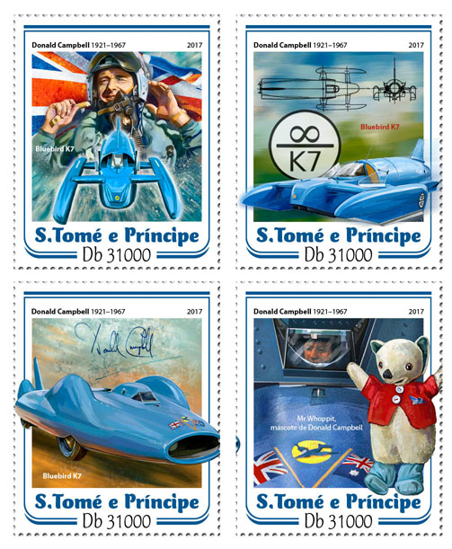 Donald Campbell - Issue of Sao Tome and Principe postage stamps