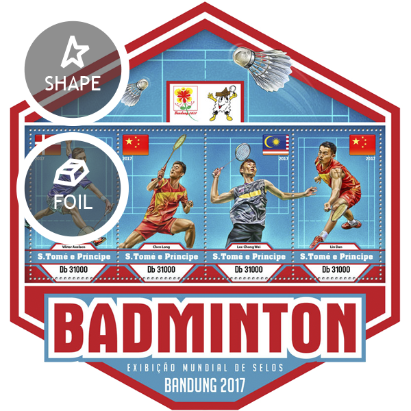 Badminton - Issue of Sao Tome and Principe postage stamps