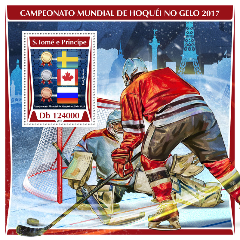 Ice Hockey - Issue of Sao Tome and Principe postage stamps