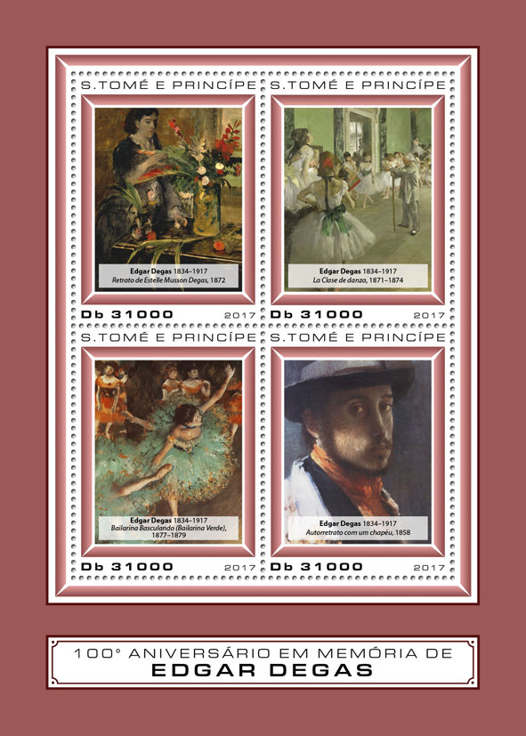 Edgar Degas - Issue of Sao Tome and Principe postage stamps