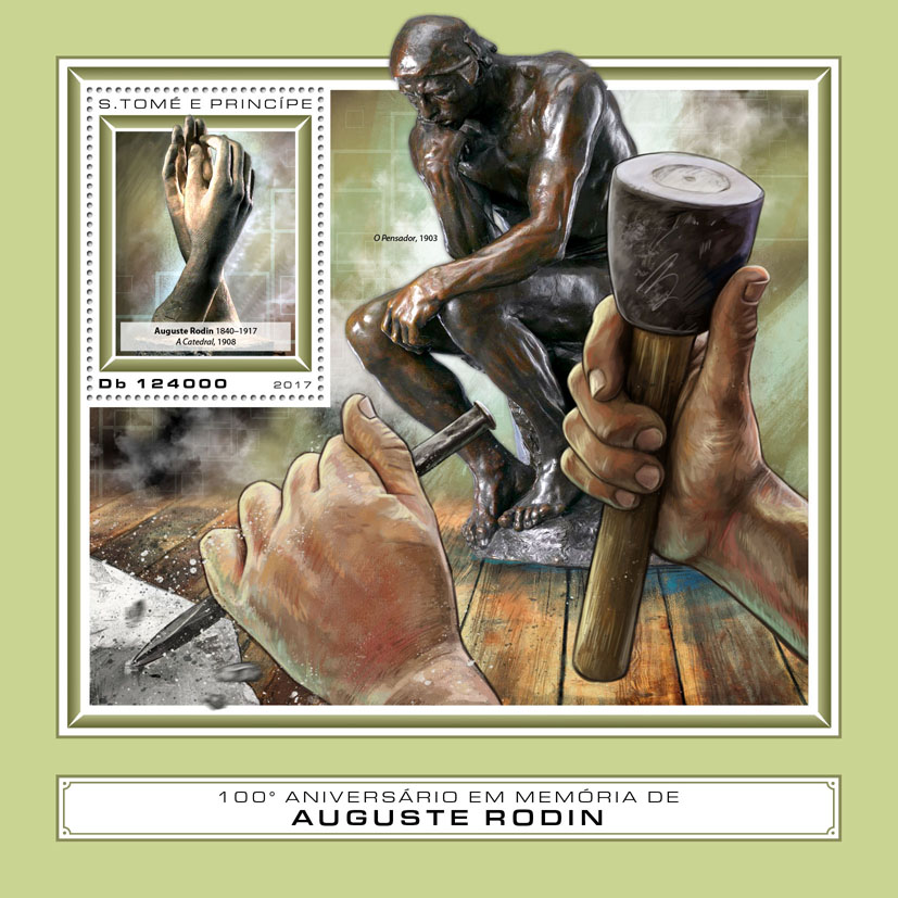 Auguste Rodin - Issue of Sao Tome and Principe postage stamps