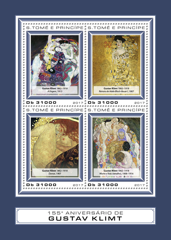 Gustav Klimt - Issue of Sao Tome and Principe postage stamps