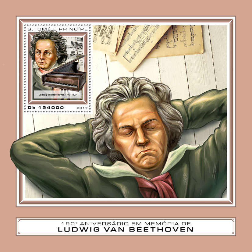 Ludwig van Beethoven - Issue of Sao Tome and Principe postage stamps