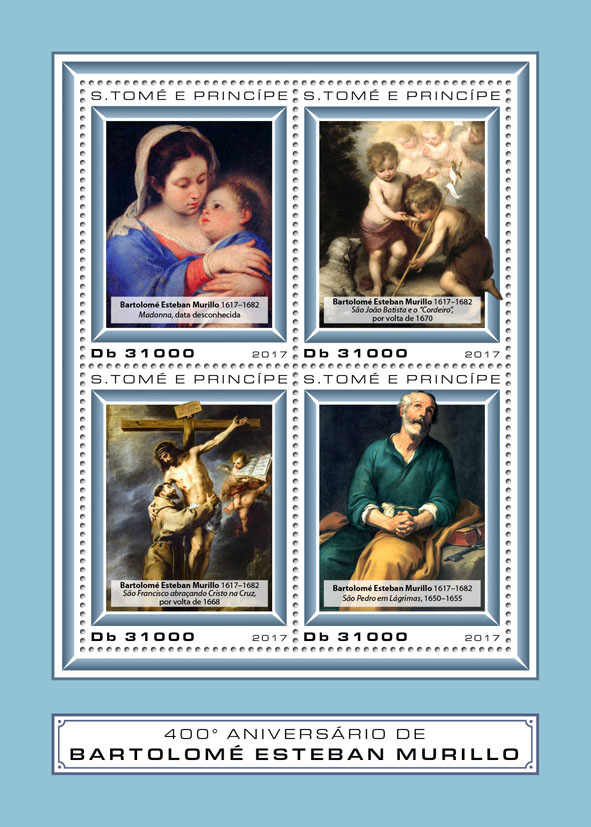 Bartolome Estaban Murillo - Issue of Sao Tome and Principe postage stamps
