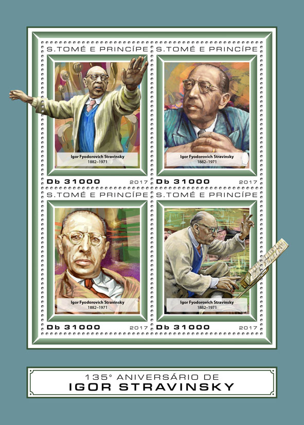 Igor Stravinsky - Issue of Sao Tome and Principe postage stamps