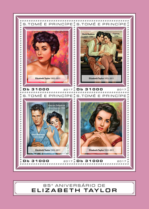 Elizabeth Taylor - Issue of Sao Tome and Principe postage stamps