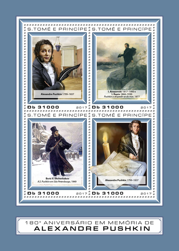 Alexander Pushkin - Issue of Sao Tome and Principe postage stamps