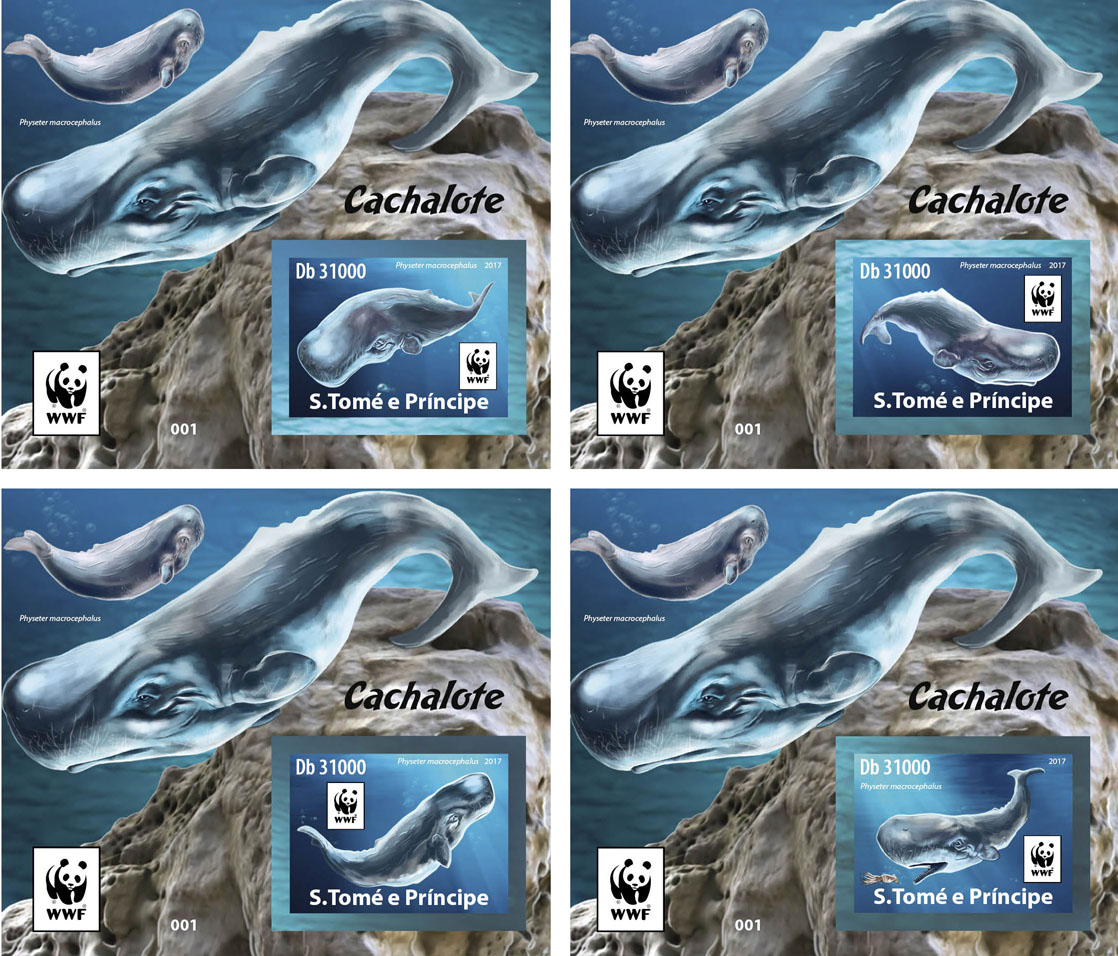 WWF – Sperm whale (imperf. 4 delux) - Issue of Sao Tome and Principe postage stamps