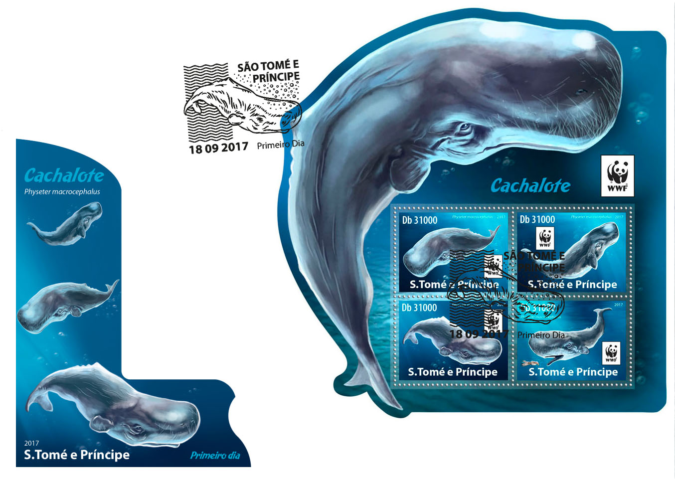 WWF – Sperm whale (FDC) - Issue of Sao Tome and Principe postage stamps