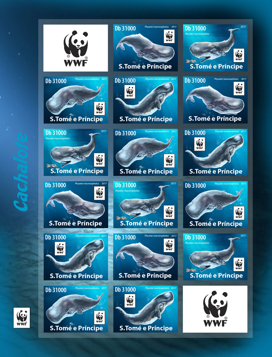 WWF – Sperm whale (imperf. 4 sets) - Issue of Sao Tome and Principe postage stamps