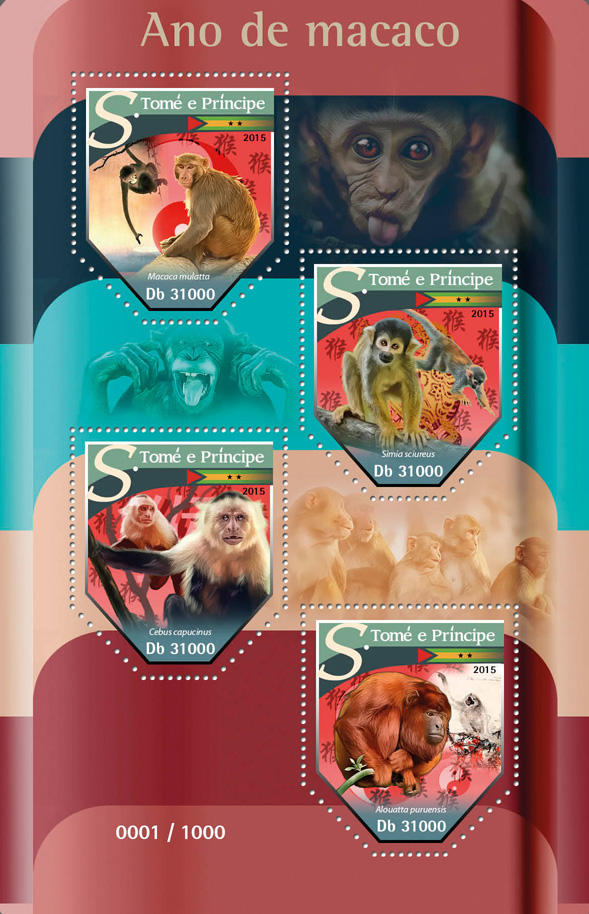 Year of monkey - Issue of Sao Tome and Principe postage stamps