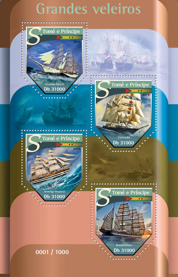Sailboats - Issue of Sao Tome and Principe postage stamps