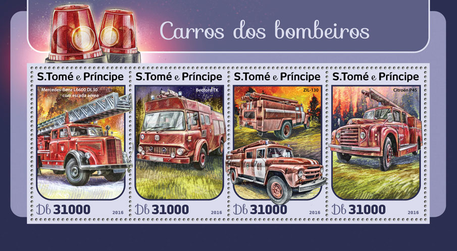 Fire trucks - Issue of Sao Tome and Principe postage stamps