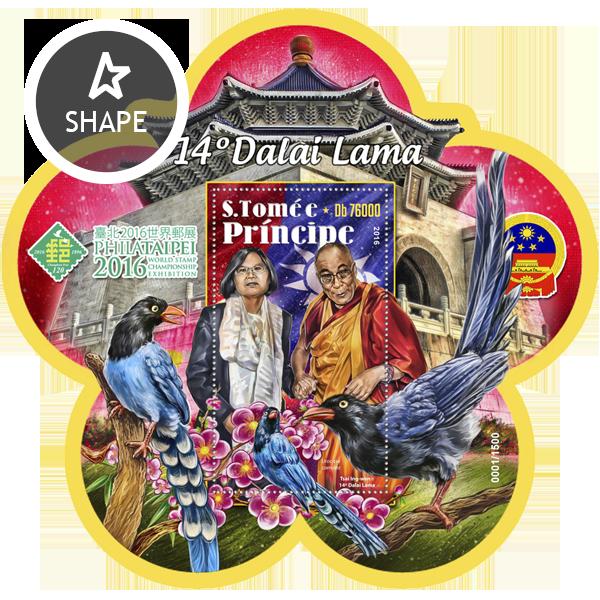 Dalai Lama - Issue of Sao Tome and Principe postage stamps