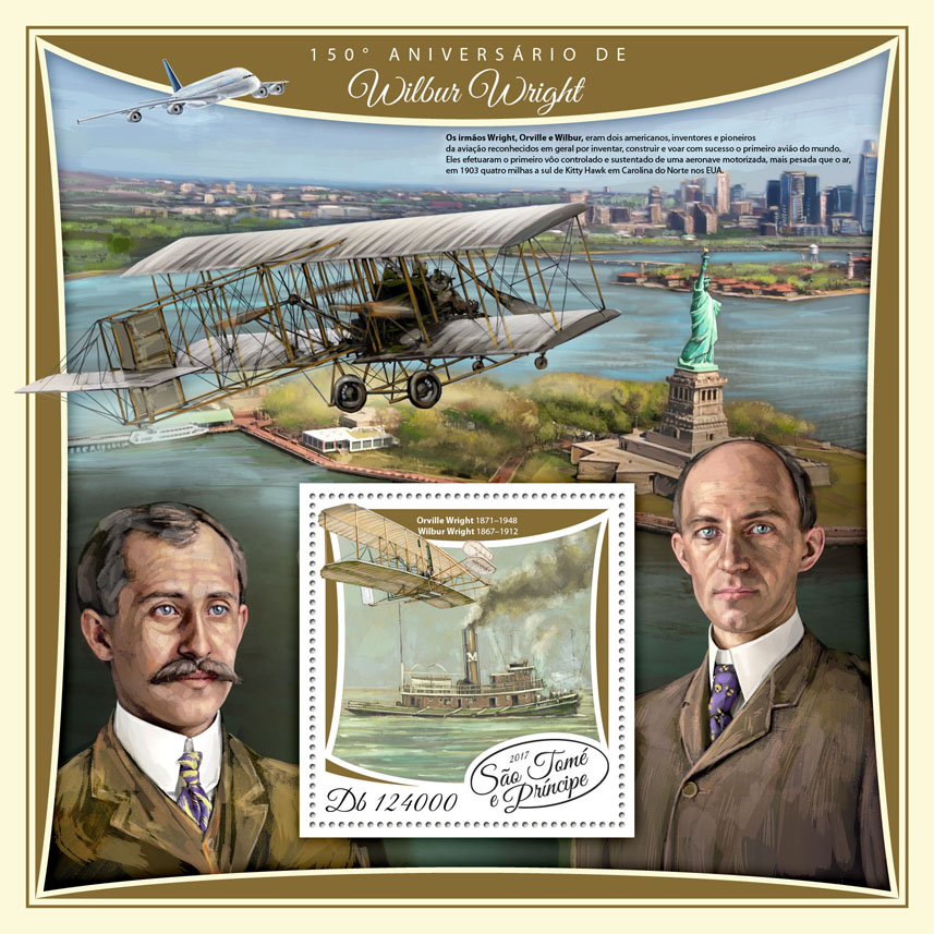 Wilbur Wright - Issue of Sao Tome and Principe postage stamps