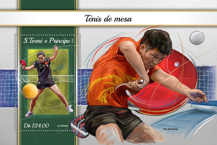 Table tennis - Issue of Sao Tome and Principe postage stamps