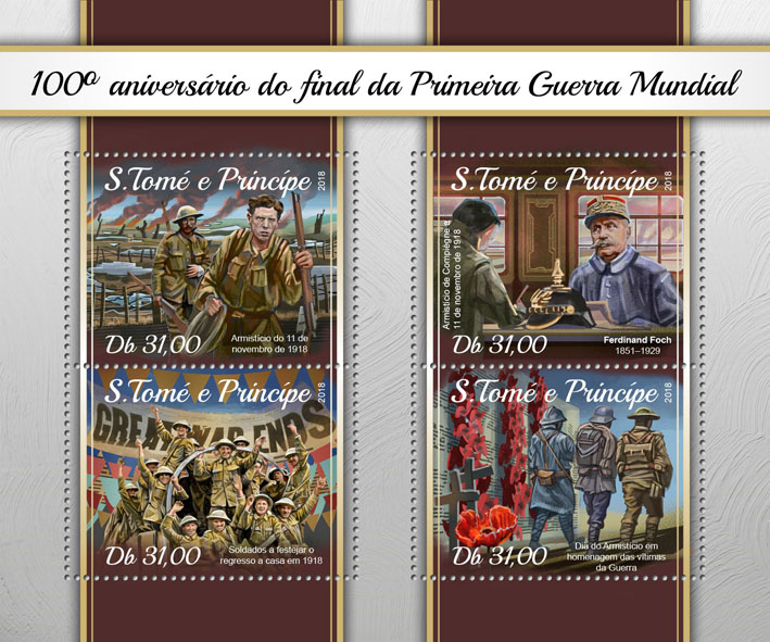 World War I - Issue of Sao Tome and Principe postage stamps