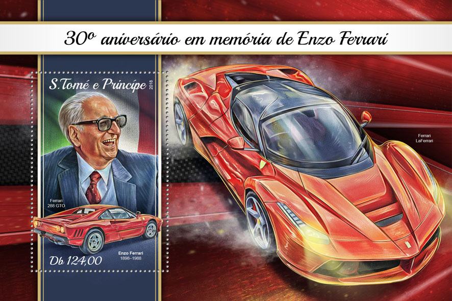 Enzo Ferrari - Issue of Sao Tome and Principe postage stamps