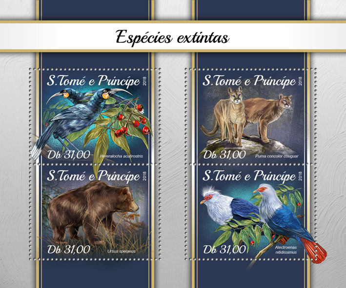 Extinct species - Issue of Sao Tome and Principe postage stamps