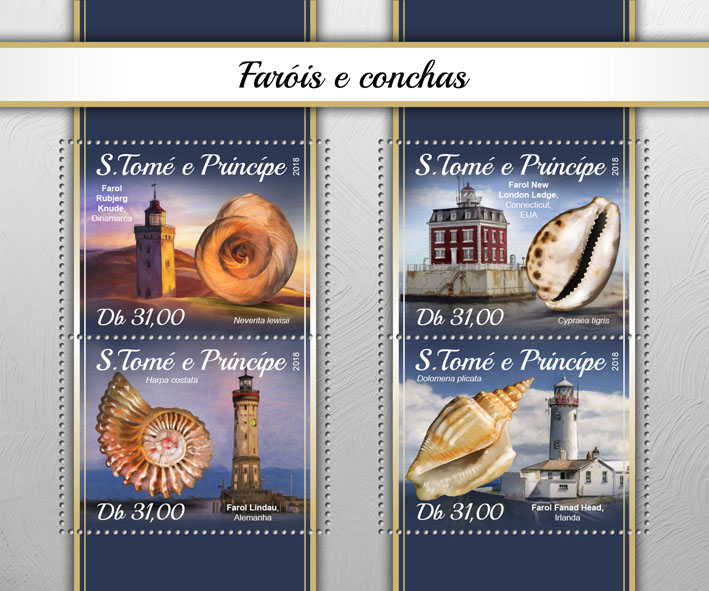Lighthouse and shells - Issue of Sao Tome and Principe postage stamps