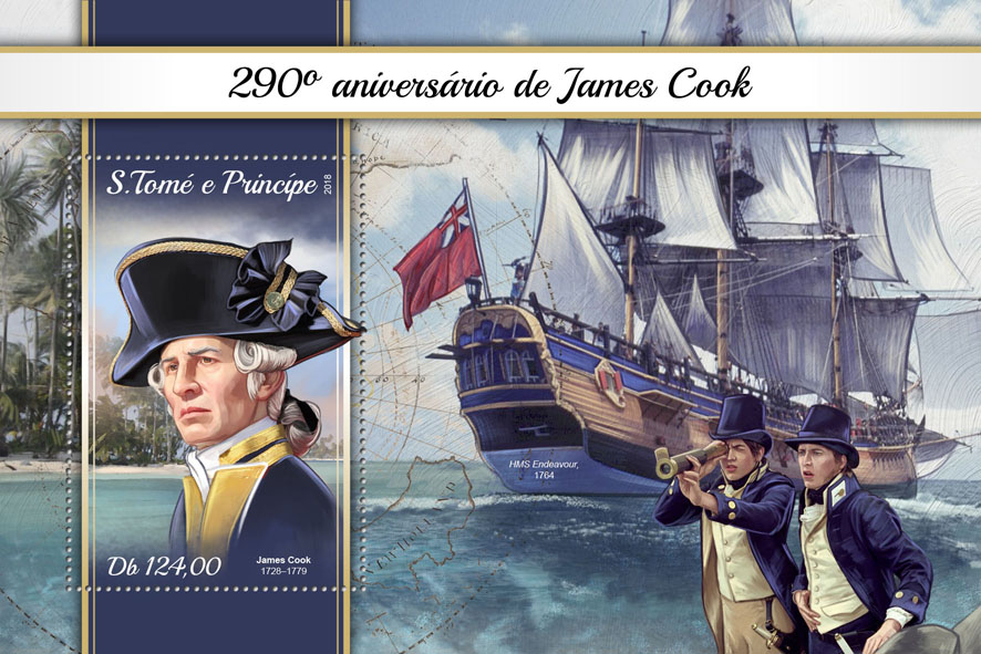 James Cook - Issue of Sao Tome and Principe postage stamps