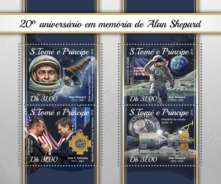 Alan Shepard - Issue of Sao Tome and Principe postage stamps