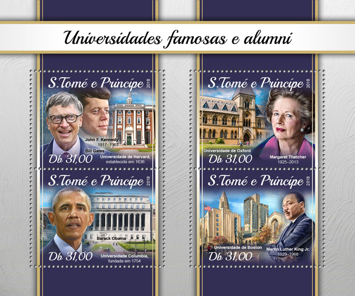 Famous universities and alumni - Issue of Sao Tome and Principe postage stamps