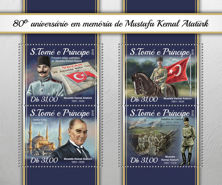 Mustafa Kemal Ataturk - Issue of Sao Tome and Principe postage stamps