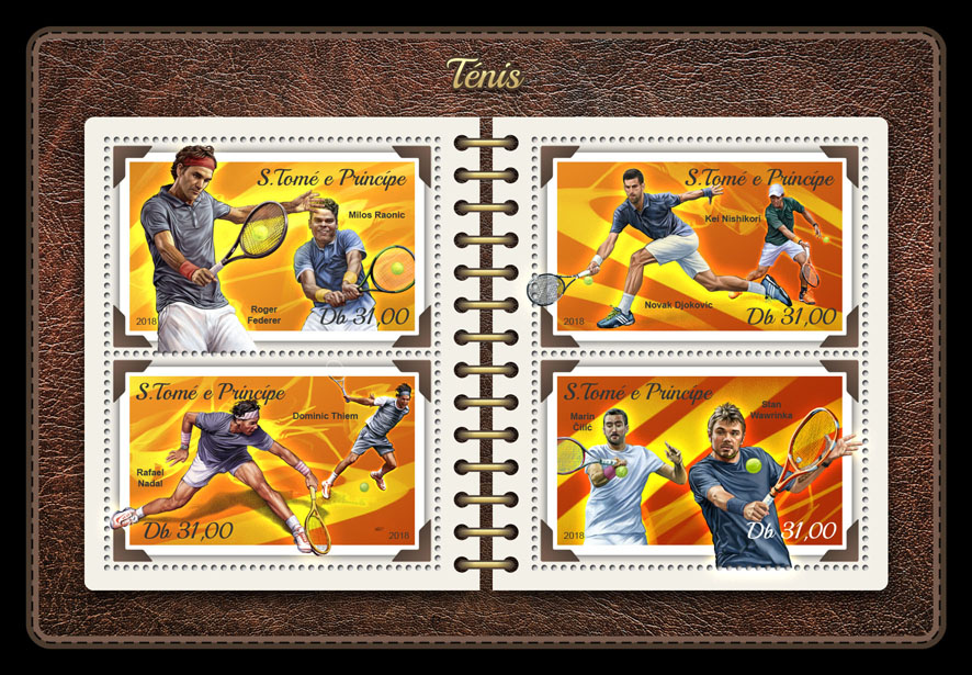 Tennis - Issue of Sao Tome and Principe postage stamps
