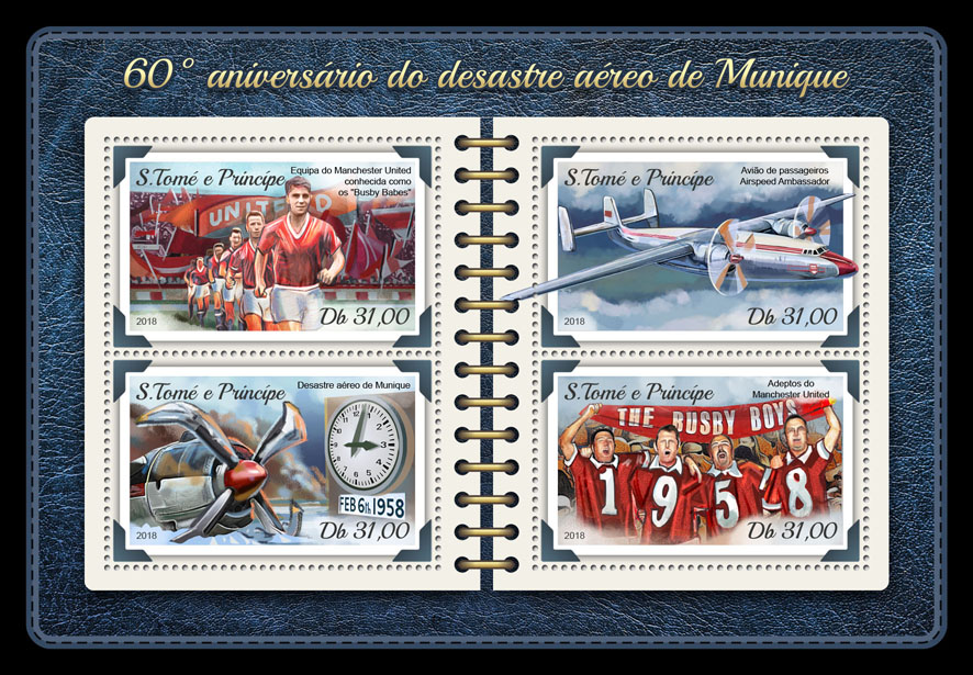 Munich air disaster - Issue of Sao Tome and Principe postage stamps