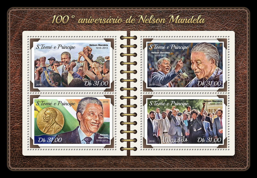 Nelson Mandela - Issue of Sao Tome and Principe postage stamps