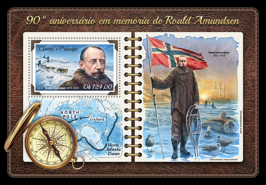 Roald Amundsen - Issue of Sao Tome and Principe postage stamps