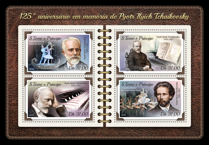 Pyotr Ilyich Tchaikovsky - Issue of Sao Tome and Principe postage stamps